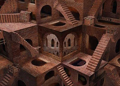 architecture, buildings, illusions, MC Escher, madness - desktop wallpaper