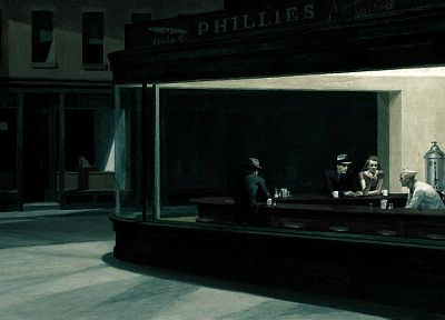 paintings, Edward Hopper, artwork, Nighthawks At The Diner - random desktop wallpaper
