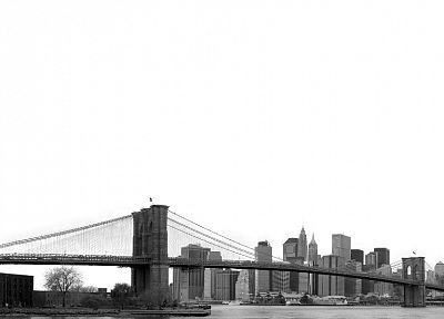 cityscapes, architecture, bridges, buildings, Brooklyn Bridge, New York City, grayscale, monochrome - desktop wallpaper
