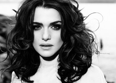 women, Rachel Weisz, monochrome - desktop wallpaper