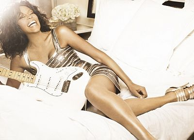 brunettes, women, guitars, singers, Whitney Houston - random desktop wallpaper