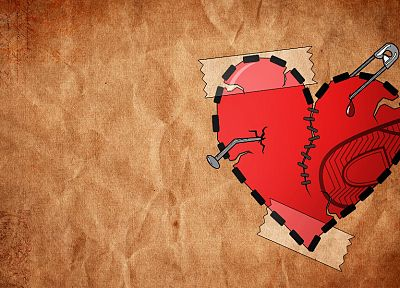 digital art, heart broken, hearts, nails (fastener) - desktop wallpaper