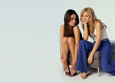 brunettes, blondes, women, Mila Kunis, Kristen Bell, actress, celebrity - related desktop wallpaper