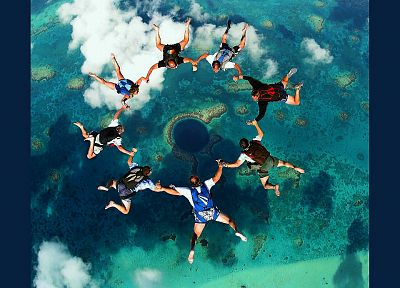 nature, reef, skydiving, Great Blue Hole, Belize - random desktop wallpaper