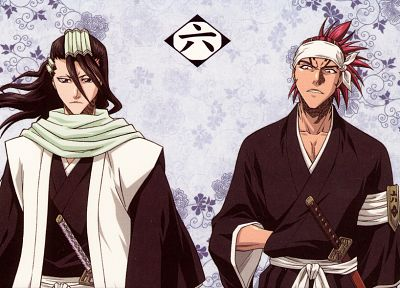 Bleach, Kuchiki Byakuya, anime, Abarai Renji - desktop wallpaper
