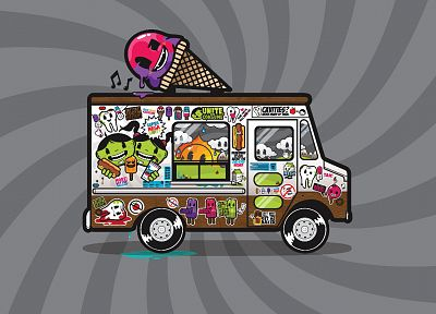 ice cream, trucks, vehicles, popsicles, JThree Concepts, vector art, grey background, Jared Nickerson - related desktop wallpaper