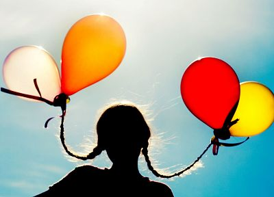 silhouettes, sunlight, braids, balloons, children - random desktop wallpaper