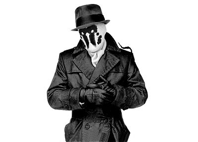 Watchmen, Rorschach, grayscale, monochrome, white background - random desktop wallpaper