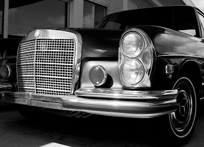 cars, grayscale, monochrome, Mercedes-Benz, German cars - related desktop wallpaper