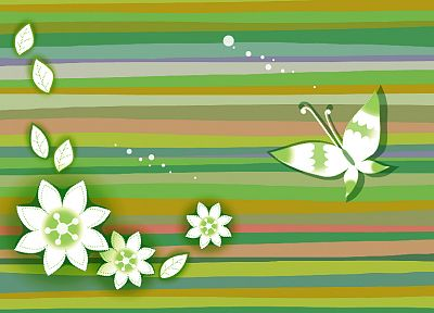 multicolor, flowers, artwork, butterflies - random desktop wallpaper