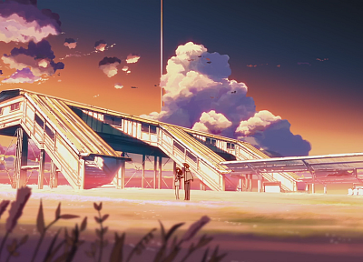 clouds, Makoto Shinkai, anime, The Place Promised in Our Early Days - random desktop wallpaper