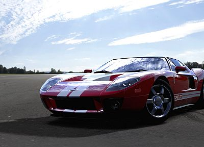 red, cars, scenic, vehicles, Ford GT, Forza Motorsport 4, front angle view - random desktop wallpaper