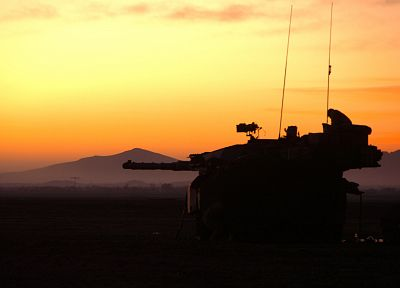 sunrise, tanks - duplicate desktop wallpaper