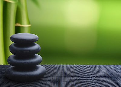 Japan, bamboo, stones, zen - related desktop wallpaper