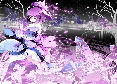 video games, Touhou, short hair, purple eyes, Saigyouji Yuyuko, Japanese clothes, Asakura Masatoki, butterflies - related desktop wallpaper