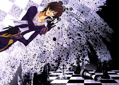 Code Geass, Lamperouge Lelouch, chess pieces, ink blot, chess board, splatters - random desktop wallpaper