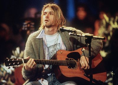 music, Nirvana, Kurt Cobain, MTV, guitars, music bands - related desktop wallpaper