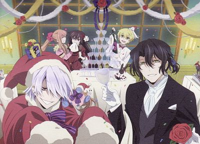 glasses, presents, Christmas, Pandora Hearts, decoration, anime, anime boys, Gilbert Nightray, Oz Vessalius, Xerxes Break, Alice (Pandora Hearts), Sharon Rainsworth, anime girls, Santa outfit - related desktop wallpaper