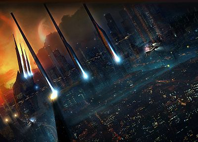 sunset, cityscapes, futuristic, future, urban, buildings, artwork, cities - related desktop wallpaper