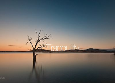 water, sunset, landscapes, silhouettes, typography, dam, Australia, lakes, reflections, photo manipulation, sea - desktop wallpaper