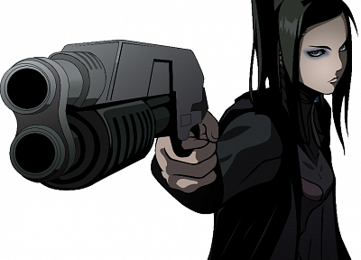 guns, Ergo Proxy, weapons, Re-l Mayer, simple background, black hair - related desktop wallpaper