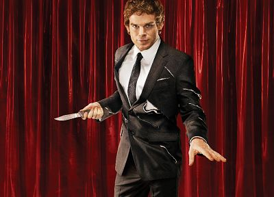 Dexter, men, knives, curtains, Michael C. Hall, Dexter Morgan, red curtain - random desktop wallpaper
