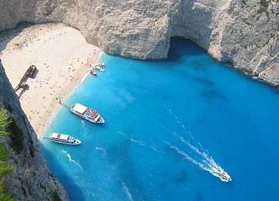 islands, boats, Greece, seaside, vehicles, bay, Zakynthos, beaches - related desktop wallpaper