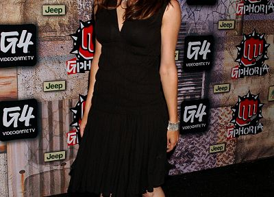 Morgan Webb, high heels, black dress - random desktop wallpaper