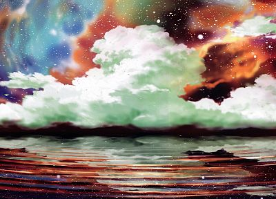 clouds, landscapes, artwork - related desktop wallpaper