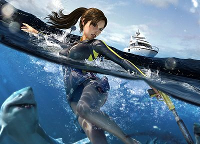 ships, Lara Croft, sharks, vehicles - related desktop wallpaper