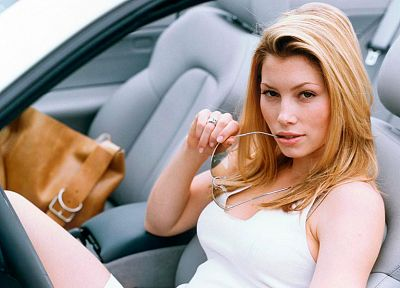 blondes, women, cars, actress, glasses, Jessica Biel, car interiors, girls with cars - related desktop wallpaper