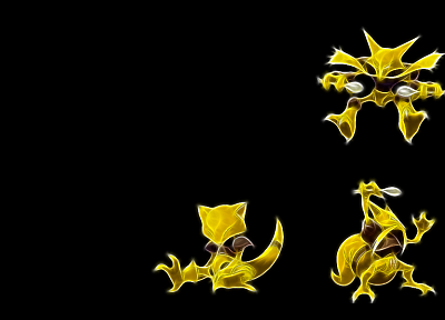 Pokemon, Abra, Alakazam, Kadabra, black background - desktop wallpaper