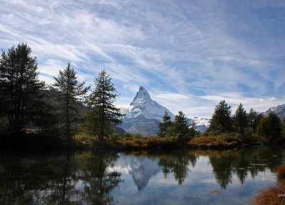 mountains, clouds, landscapes, trees, rivers, Matterhorn - desktop wallpaper