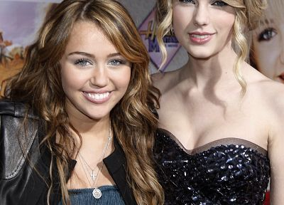 women, Miley Cyrus, Taylor Swift, celebrity, singers - random desktop wallpaper