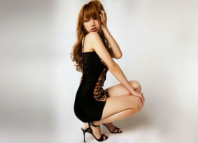 women, high heels, Asians, Maki Goto, bangs - desktop wallpaper