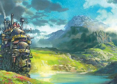 mountains, landscapes, fantasy art, anime, rivers, Howl's Moving Castle, hauru - related desktop wallpaper