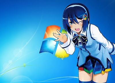 Windows 7, Madobe Nanami, OS-tan - random desktop wallpaper