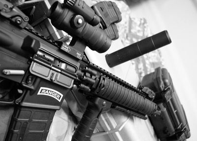 rifles, weapons, AR-15, LaRue Tactical, suppressor, Aimpoint - random desktop wallpaper