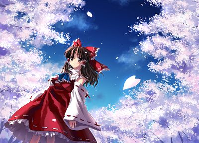 brunettes, video games, clouds, nature, Touhou, cherry blossoms, trees, dress, skirts, long hair, outdoors, Miko, red eyes, Hakurei Reimu, bows, red dress, flower petals, Japanese clothes, anime girls, detached sleeves, hair ornaments, bangs, skies, bare  - desktop wallpaper