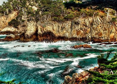ocean, coast, waves, HDR photography, beaches - random desktop wallpaper