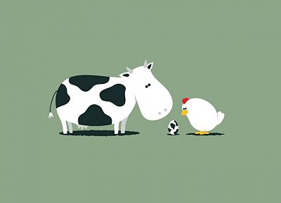 eggs, chicken, illustrations, cows - desktop wallpaper