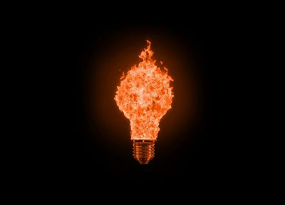 fire, light bulbs - random desktop wallpaper