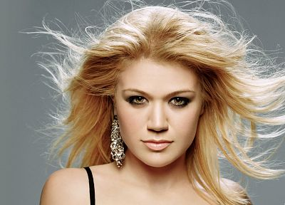 blondes, women, brown eyes, Kelly Clarkson - random desktop wallpaper