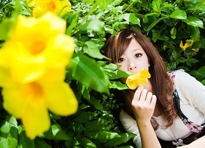 women, flowers, Asians, Mikako Zhang Kaijie - random desktop wallpaper