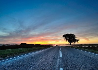 sunset, clouds, landscapes, nature, trees, fog, roads, skyscapes - related desktop wallpaper