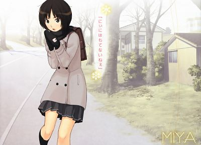 brunettes, trees, text, school uniforms, schoolgirls, houses, skirts, outdoors, buildings, brown eyes, short hair, Amagami SS, roads, open mouth, Tachibana Miya, scarfs, mittens, coat, anime girls, bushes, bangs, scans, knee socks, school bags, Takayama K - related desktop wallpaper