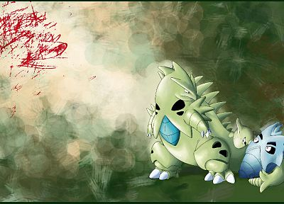 green, Pokemon, Tyranitar, larvitar, Pineco - random desktop wallpaper