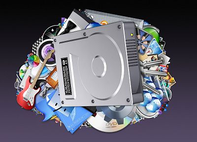 Apple Inc., guitars, dvd, Hard Drive - random desktop wallpaper