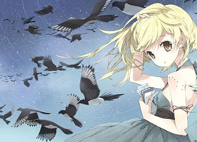 blondes, dress, birds, yellow eyes, anime girls - random desktop wallpaper