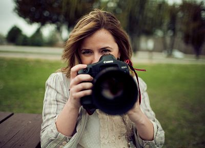 women, grass, cameras, Canon - random desktop wallpaper